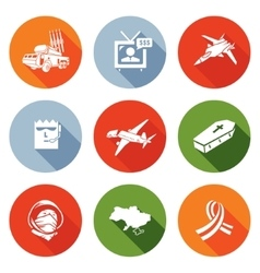 Plane crash in a war zone icons set vector