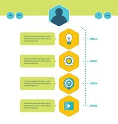 Timeline template green blue and yellow style vector