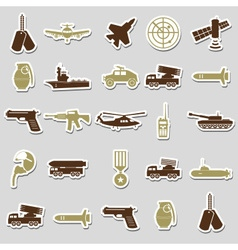 Military theme simple stickers icons set eps10 vector
