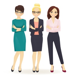 Three elegant business women in different poses vector