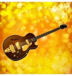 Jazz guitar against a bright background with flash vector