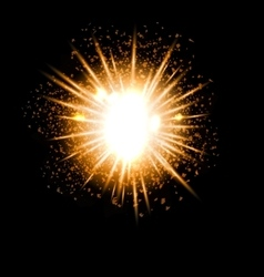 Explosion fireworks powerful bright ray vector image