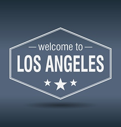 Welcome to los angeles hexagonal white vintage vector
