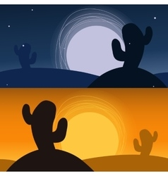 Cactus in desert banners night and sunset vector