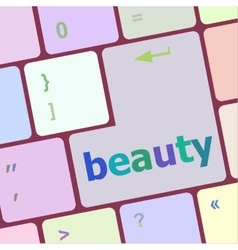 beauty word on keyboard key notebook computer vector image vector image