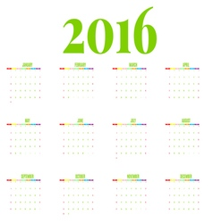 calendar 2016 new year on white background vector image