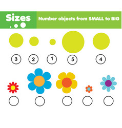 children educational game learning sizes vector image vector image