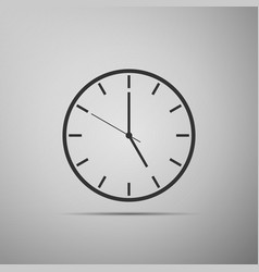 clock flat icon on grey background vector image vector image