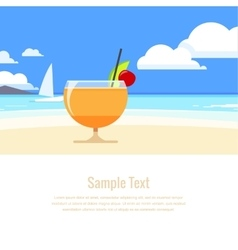 Cocktail on the background seascape vector image