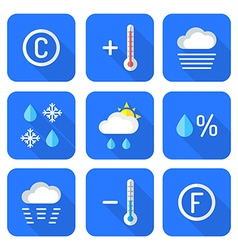 colored flat style weather forecast icons set vector image
