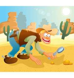 cowboy find the gold vector image vector image