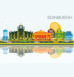 Edinburgh scotland skyline with color buildings vector