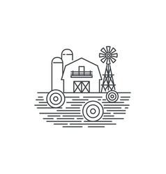 farm hay line icon outline of hay vector image vector image