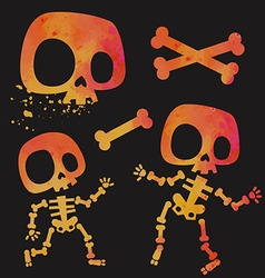 Funny little cartoon stylized skeletons set vector image vector image
