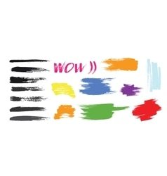 Grunge hand drawn brush stroke set vector image vector image