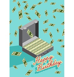Happy Birthday Falling money Case of money Wealth vector image