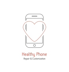 Healthy phone branding with red line heart vector