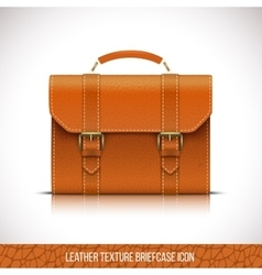 Leather briefcase icon vector