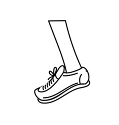 Line leg with sport sneaker to practice exercise vector