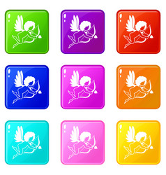Love cupid icons 9 set vector