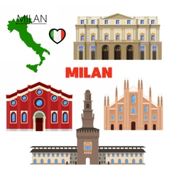Milan Italy Travel Doodle with Architecture vector image