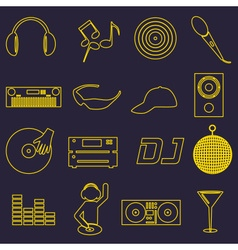 music club dj simple outline icons set eps10 vector image vector image