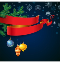 ribbon christmas blue vector image vector image