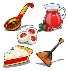Set in folk style balalaika spoon and other vector