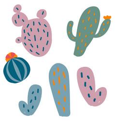 set of flat cactus vector image