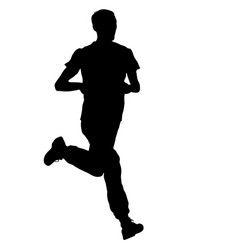silhouettes runners on sprint men vector image vector image