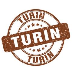 Turin brown grunge round vintage rubber stamp vector