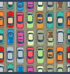 urban cars seamless texture huge traffic jam vector image vector image