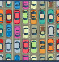 Urban cars seamless texture huge traffic jam vector