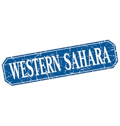 Western sahara blue square grunge retro style sign vector