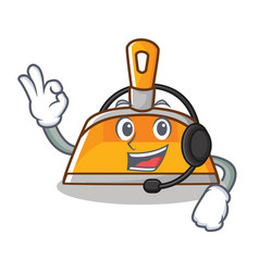 With headphone dustpan character cartoon style vector