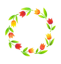 wreath watercolor tulips vector image vector image