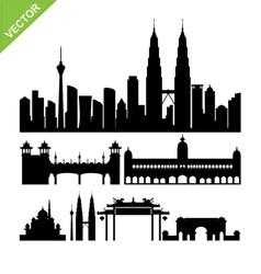 Kuala lumpur malaysia landmark silhouettes vector