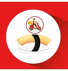 Delivery boy ride motorcycle nigiri sushi vector