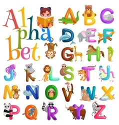 animals alphabet set for kids abc education in vector image