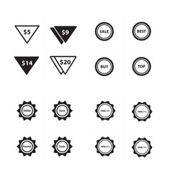 Price label set triangle style set vector