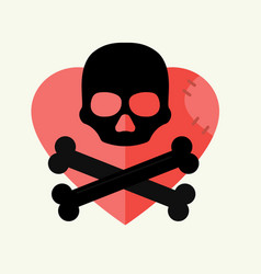 Skull and crossbones mark of the danger warning on vector