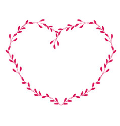 red frame in form of heart hand drawn vector image