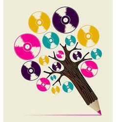 Retro music concept art tree vector image