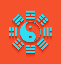 Yin and yang sign with bagua arrangement vector