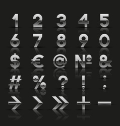 Set of decorative silver numbers and symbols vector