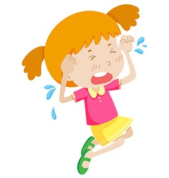 Little girl in pink crying vector