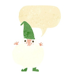 Cartoon tiny santa with speech bubble vector