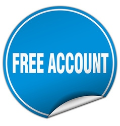 Free account round blue sticker isolated on white vector