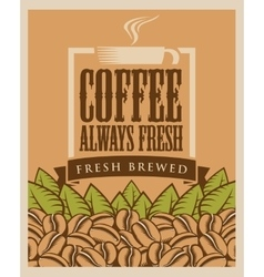 Fresh coffee cup and beans vector