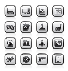 Computer games tools and icons vector